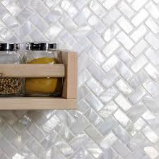 Herringbone Kitchen Backsplash Oyster White Pearl Herringbone Tile Pearl Shell Tiles Bathroom