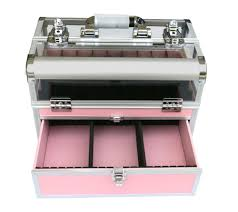 aluminum nail polish display case carry storage case with lock