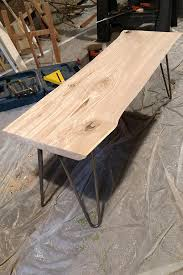 diy live edge wood bench with hairpin legs live edge wood
