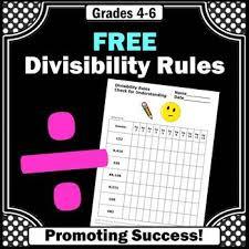 free divisibility rules sheet division strategies 4th grade math