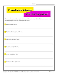proverbs and adages worksheet what do they mean