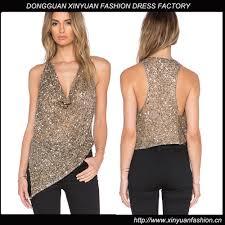 fancy stand collar gold sequin top buy sequin top