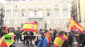 spain hundreds march against catalan independence in barcelona