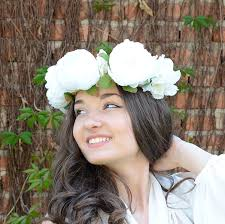 white flower headband boho flower crown white flower tiara wedding crown big