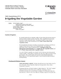 irrigating the vegetable garden colorado university