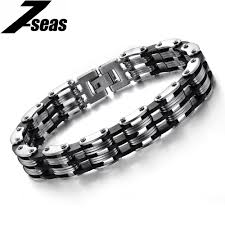 metal silicone bracelet images Fashion men 39 s black silver color stainless steel silicone bracelet jpg