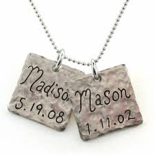 name charm necklace hammered square name charm necklace bliss living