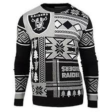 raiders christmas sweater with lights ugly christmas sweater nfl oakland raiders patches football xmas