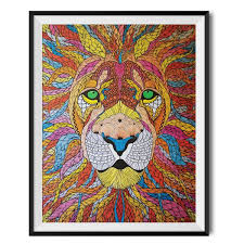 lion print unique art gifts lion wall art print wraptious