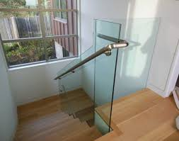 Stainless Steel Banister Rail Glass Stair Railing With Brushed Stainless Steel Hand Rail Home