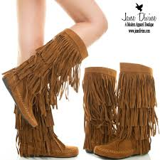 buy boots shoo india boho fringe boots brown 3 layer faux suede moc back zip