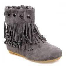 Brown Fringe Ankle Boots Fringe Boots Cheap Online Sale At Wholesale Prices Sammydress Com