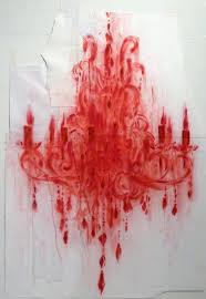 Red Chandelier by Red Drawings U0026 White Cut Outs Moody Gallery Houston