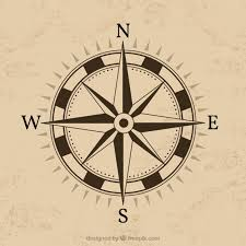 compass design with brown background vector free