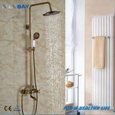 Brass Shower Faucets China Bathroom Surface Mount Antique Brass Rainfall Shower Faucet