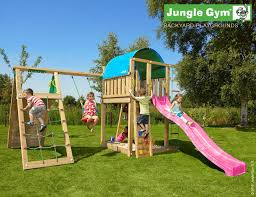 villa climbing frame with climb wall module and swing play and