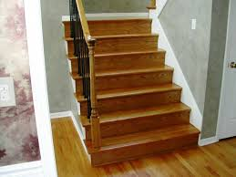 interior stair design idea with brown oak tread covers and riser