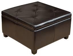 Ottoman Coffee Table With Storage Elegant Brown Leather Storage Ottoman Coffee Table With Tufted Top