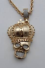 long necklace accessories images Gold metal chain skeleton skull charm crown 3d pendant long jpg