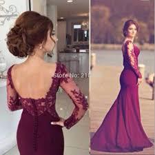 com buy plum mermaid prom dress long sleeves backless prom