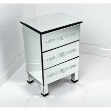 White Glass Bedroom Furniture Luxury Mirrored Nightstand Design Showcasing Single Drawer And