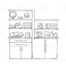 kitchen cupboard furniture with wares stock vector art 516360392