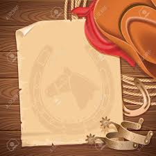 Wooden Table Background Vector Wild West Background With Cowboy Hat And American Lasso Vector