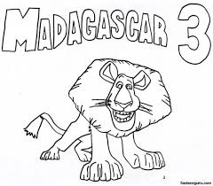 printable alex madagascar 3 coloring pages alex lion