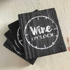 wine gift wine lover gift wine coaster wood coaster set
