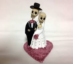 day of the dead cake toppers pastel pink till do us part skeleton and groom