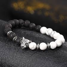 silver beaded charm bracelet images 2017 fashion men 39 s leopard head stone lava silver beaded charm jpg