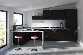 futuristic kitchen interior with a black bar stand two round