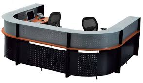 Two Person Reception Desk Shaped 2 Person Glass Top Reception Desk