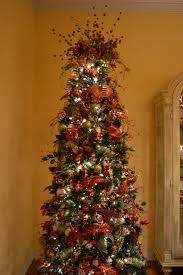 tree decorations with mesh ribbons happy holidays