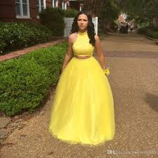 long yellow two piece prom dresses 2017 new arrive high neck