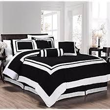 White Comforter Sets Queen Amazon Com Chezmoi Collection 7 Pieces Caprice Black White Square