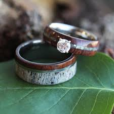 unique wedding bands unique wedding ring set antler wedding band wood engagement ring