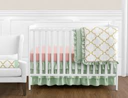 Green And White Crib Bedding Gold Mint Coral And White Baby Bedding 11pc Crib Set