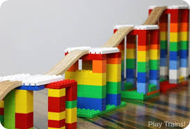 Making Wooden Toy Train Tracks by Building With Dreamup Toys Wooden Railway Block Platforms