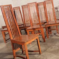 sold u2013 mackintosh style high back teak dining chairs vintage circa