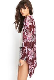 forever 21 botanical floral kimono in red lyst