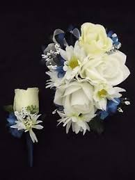 corsage and boutonniere set wedding prom navy white flowers wrist corsage boutonniere set