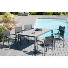 Table De Jardin En Palette by Salon De Jardin En Aluminium Table Rectangulaire 180cm 6 Fauteuils