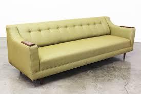 mid century olive green sofa w accent walnut armrest vintage