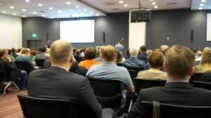 ufa russia 05 06 2016 unrecognizable audience listening presentation speaker on