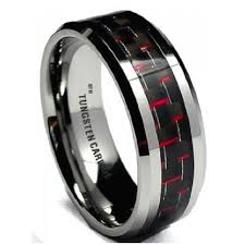 about tungsten rings images Red carbon inlay mens tungsten carbide wedding engagement band ring jpg