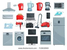 Microwave And Toaster Set Home Appliance Icons Set Refrigerator Microwave Stock Vector