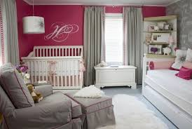 gray nursery walls with pink curtains design ideas