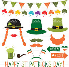 photo booth props and decoration for st patricks day stock vector