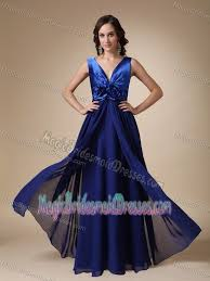 royal blue chiffon bridesmaid dresses blue empire v neck satin and chiffon bridesmaid dresses in az